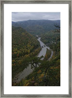 Elevated Autumn View Of The Nolichucky Framed Print by Stephen Alvarez