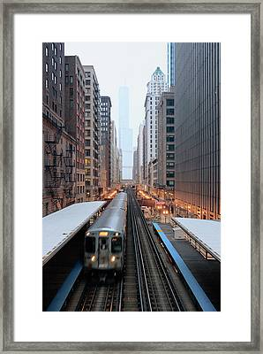 Elevated Commuter Train In Chicago Loop Framed Print by Photo by John Crouch