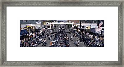 Elevated Panoramic View Of Main Street Framed Print