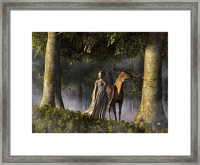 Elf And Buck Framed Print by Daniel Eskridge