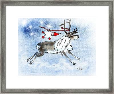 Elf And Reindeer Framed Print
