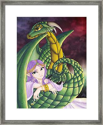 Elf Girl And Dragon Framed Print