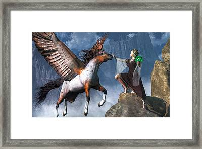 Elf Summoning A Pegasus Framed Print by Daniel Eskridge