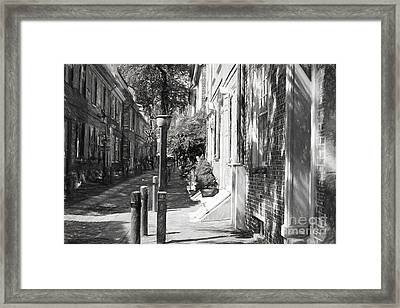 Elfreth's Alley In Charcoal Framed Print by Terry Weaver