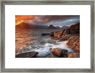 Framed Print featuring the photograph Elgol Stormy Sunset by Grant Glendinning