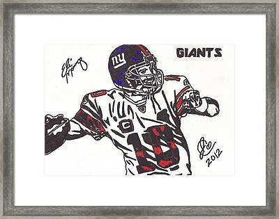 Framed Print featuring the drawing Eli Manning by Jeremiah Colley
