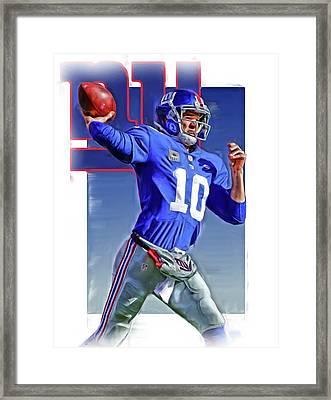 Eli Manning New York Giants Oil Art 2 Framed Print by Joe Hamilton
