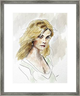 Eliannah Study In Watercolor Framed Print by Gary Bodnar