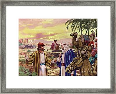Eliezer Arriving At The Well  Framed Print by Pat Nicolle
