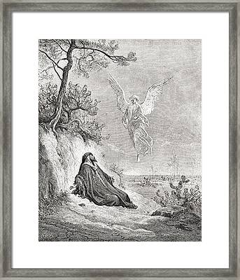 Elijah Nourished By An Angel. After A Framed Print