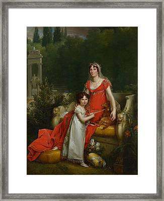 Elisa Bonaparte With Her Daugher Napoleona Baciocchi Framed Print by Francois Gerard