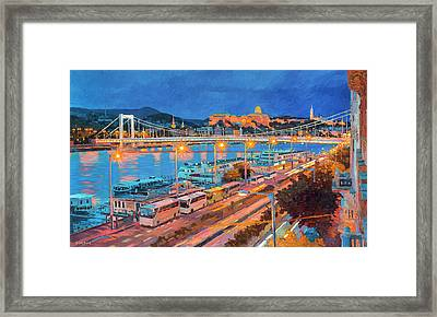 Elisabeth Bridge With Lights Framed Print