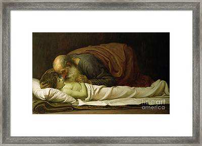 Elisha Raising The Son Of The Shunamite Framed Print by Frederic Leighton