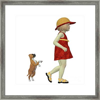 Eliza With Boxer Puppy Framed Print