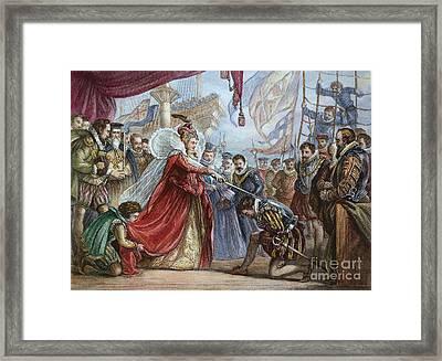 Elizabeth I/francis Drake Framed Print by Granger