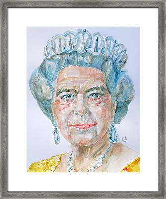 Framed Print featuring the painting Elizabeth II - Watercolor Portrait.2 by Fabrizio Cassetta