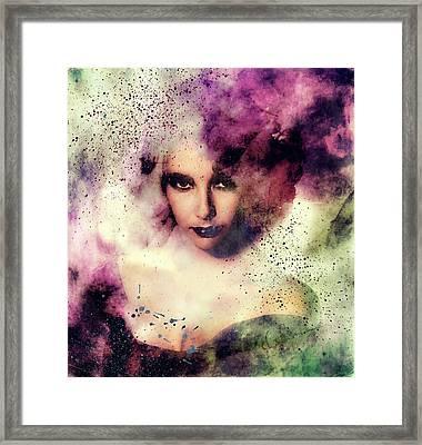 Elizabeth Taylor Grunge Abstract Realism Framed Print by Georgiana Romanovna