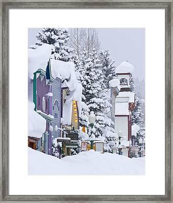 Elk Avenue Snow Framed Print by Dusty Demerson