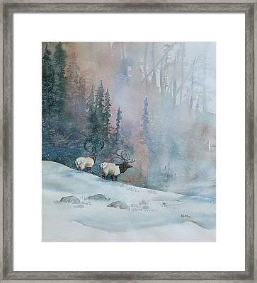 Elk In Winter Framed Print