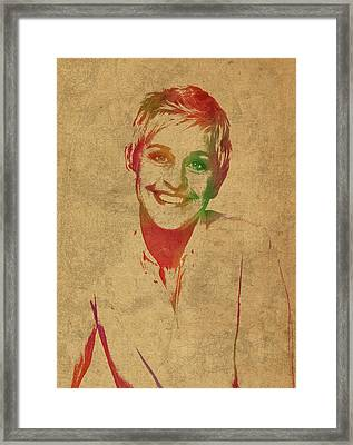 Ellen Degeneres Watercolor Portrait Framed Print