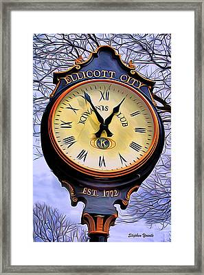 Ellicott City Clock Framed Print by Stephen Younts