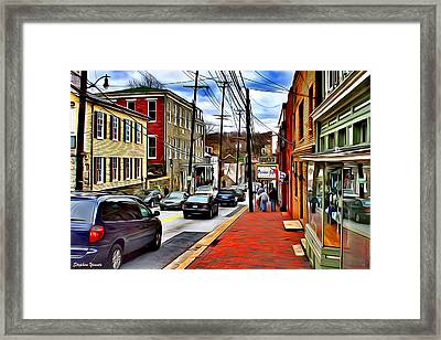 Ellicott City Sidewalk Framed Print by Stephen Younts