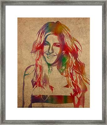Ellie Goulding Watercolor Portrait Framed Print