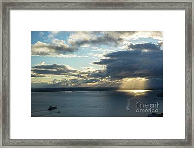 Elliot Bay Clouds And Sunrays Framed Print by Mike Reid