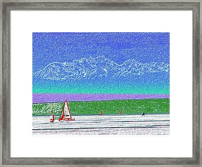Elliott Bay Sail Framed Print by Tim Allen