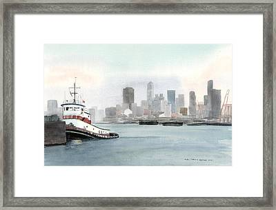 Elliott Bay Tugboat Framed Print