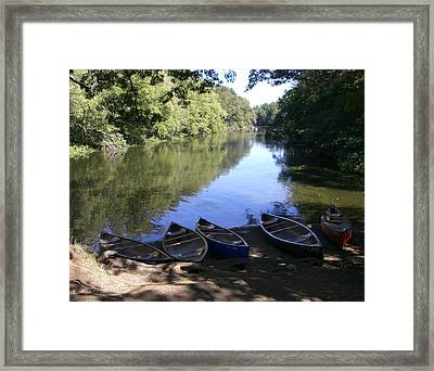 Elm Bank - Boats Framed Print by Nancy Ferrier
