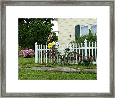 Framed Print featuring the digital art Elmer Bicycle by Jana Russon