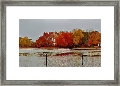 Framed Print featuring the photograph Elmer Lake In Autumn by Ed Sweeney