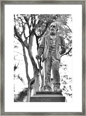 Elmwood Cemetery - Man With Cane Framed Print by Jon Woodhams