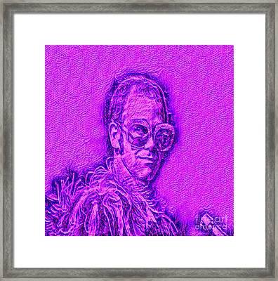 Elton In Purple Framed Print by Pd