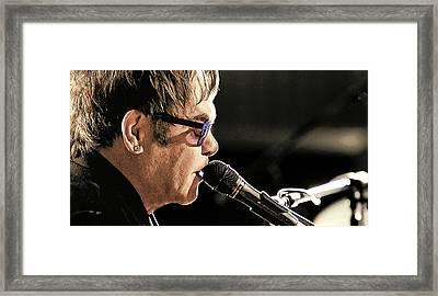 Elton John At The Mic Framed Print by Elaine Plesser