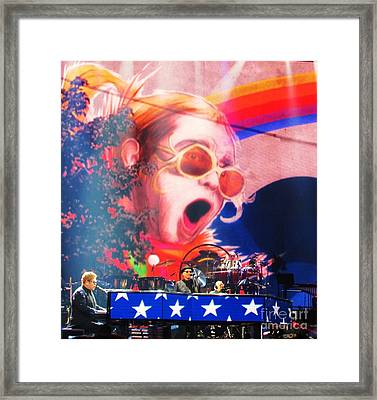 Elton John Then And Now Framed Print by Allen Meyer