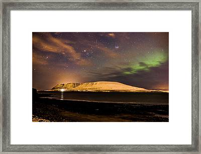 Elv Or Troll And Viking With A Sword In The Northern Light Framed Print
