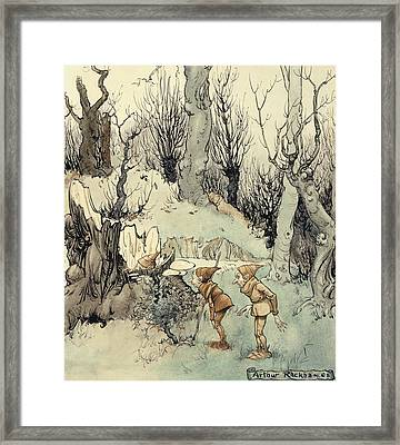 Elves In A Wood Framed Print by Arthur Rackham