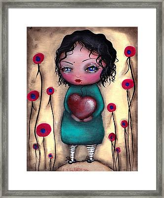 Elvira's Heart  Framed Print by  Abril Andrade Griffith