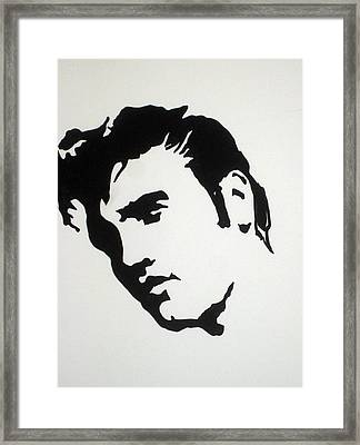 Framed Print featuring the drawing Elvis Before Time by Robert Margetts
