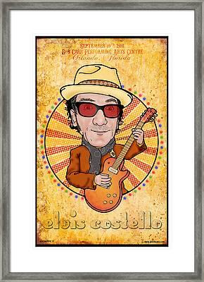 Elvis Costello Framed Print by John Goldacker