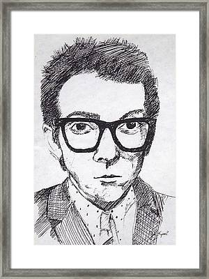 Elvis Costello Framed Print by John Keaton