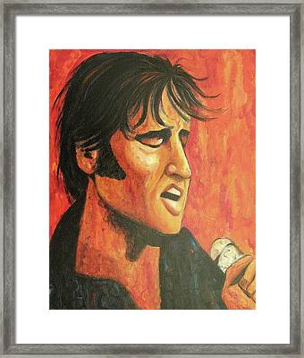 Elvis In Black And Red Framed Print