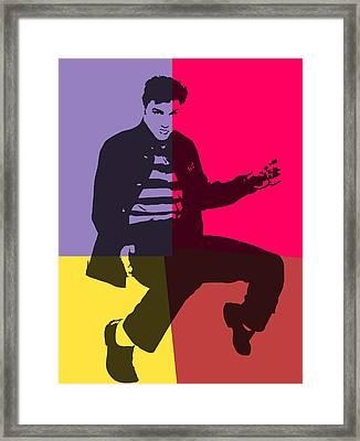 Elvis Pop Art Panels Framed Print
