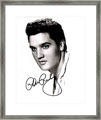 Elvis Presley Autographed Portrait Framed Print by Pd