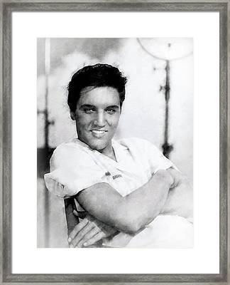 Elvis Presley Charcoal Framed Print by Daniel Hagerman