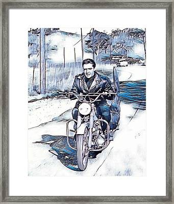 Elvis Presley In Blues And Greys Framed Print by Pd