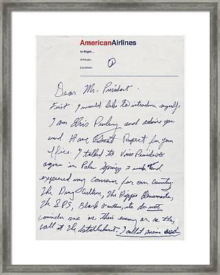Elvis Presley Letter To President Richard Nixon Framed Print