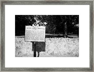 Elvis Presley Marker Nameplate And Low Wall Outside Graceland Memphis Tennessee Usa Framed Print by Joe Fox